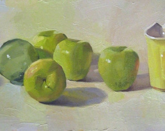 "Art painting kitchen decor ""Golden Delicious"" orignial oil on canvas still life by Sarah Sedwick"