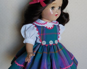 """For 14"""" P-90 Ideal Toni Doll - Three Button Jumper Dress in Plaid Inspired by Original"""