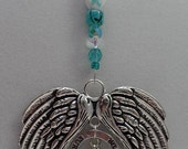 Angel Wings Ovarian Cancer Awareness Christmas Ornament with SURVIVOR Teal Ribbon and Hope Charms, Glass Beads, Car Mirror Bling, Sun Catchr
