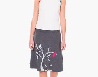 Lovely Design Skirt,  Gray knit skirt, Summer skirt, Women's gray A-line knee length applique skirt - The bird and the falling leaves
