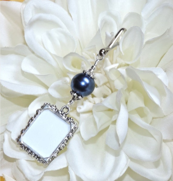 charm memorial photo charm navy blue bride 39 s bouquet charm bridal