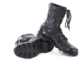 Vintage Military Boots Black Leather Army Combat Steel Toe Boots Mens Size 11.5