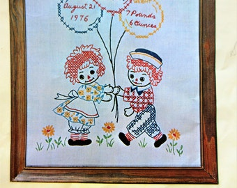 Vintage Embroidery Kit, Raggedy Ann Birth Sampler, Raggedy Andy Sampler, 1970s Needlework Kit, Stitchery Cross Stitch Sampler Kit, 70s Craft