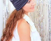 Fashion Turban in Charcoal Grey -  Women's Hair Wrap - Jersey Knit Head Covering - Lots of Colors