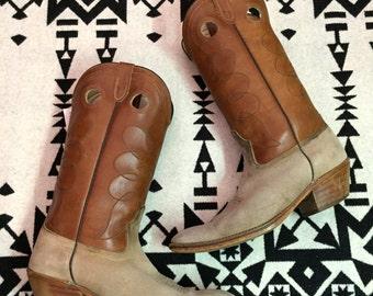 Vintage Cowboy Boots Mens Cowboy Boots Size 11 Leather Cowboy Boots Suede Cowboy Boots Brown Cowboy Boots Tan Cowboy Boots Brown Leather