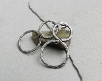 Sterling Hammered Double Hoop Dangle Earrings~Artisan Metalwork
