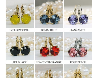Christmas Gift! Mix and Match Earrings Sale,Pick Your Color Special Offer Choose Any 3 pairs Single Stone Swarovski Crystal Drop Earrings
