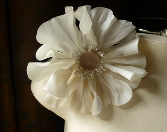 Ivory Poppy Medium Silk Millinery Flower for Bridal, Corsages, Floral or Costume Supply