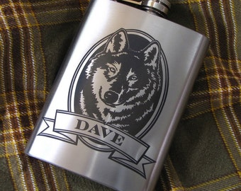 Personalized Wolf Flask Birthday Present Gift Idea for Boyfriend, Husband, Dad, Flask for Man