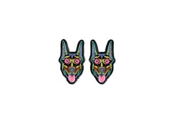 Doberman Earrings - Cropped Ear Edition - Day of the Dead Sugar Skull Dog Earrings