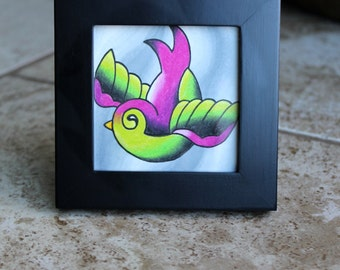 CLEARANCE - Pudgy Little Swallow - Mini Original Art by Cali - Tattoo Flash