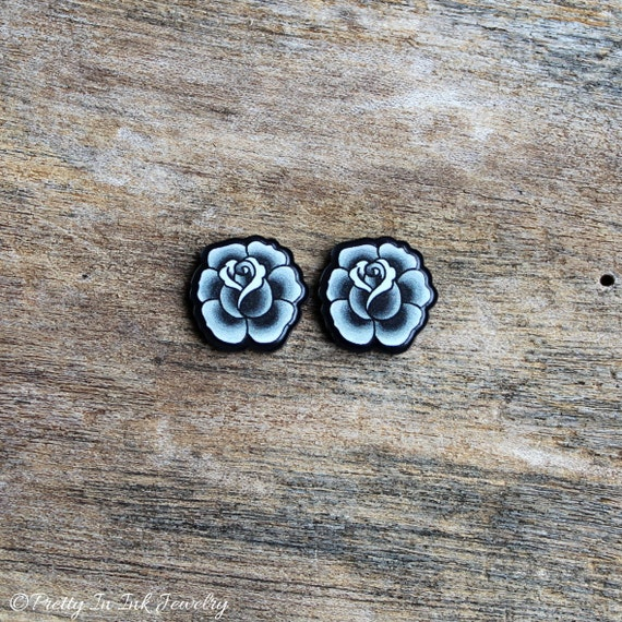Black and Grey Vintage Rose Earrings - Tattoo Style Post Earrings