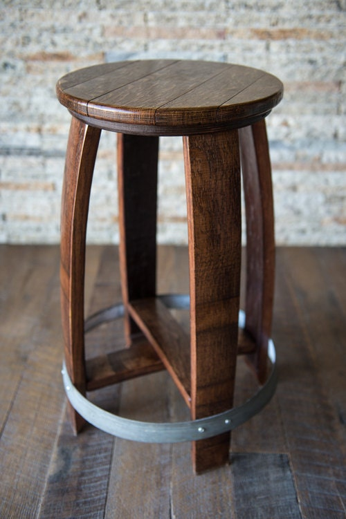 Swivel Wine Barrel Counter Stool Red Mahogany Finish