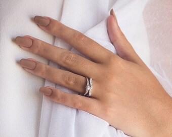 Diamond Engagement Ring Set, Diamond Wedding Set, 14k Diamond Engagemet Ring, 14k Gold Wedding Ring, Art Deco, Wedding Set, Free Shipping
