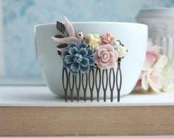Dusty Blue Pink Bird Comb, Blue Ivory Bird Chrysanthemum Bird Flower Collage Hair Comb. Pastel Wedding Bridal Flower Hair Comb, Flower Girl
