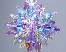 m/w Swarovski Crystal Rare Aurora Borealis Violet MINI SUPER STAR 16 Octagons Logo Etched Suncatcher Car Charm by Lilli Heart Designs