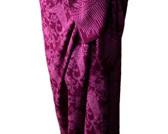 Batik Sarong Womens Clothing Beach Sarong Skirt - Swimsuit Cover Up - Violet Purple Fantasy Sarong Pareo Wrap Skirt - Womens Swimwear