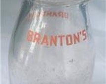 Vintage Branton's Half Pint Reg. Sealed Clear Glass Milk Bottle Jug Jar