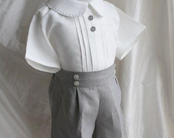 Peter pan collar shirt and shorts in linen boy first birthday ring bearer first communion baptism christening cake smash
