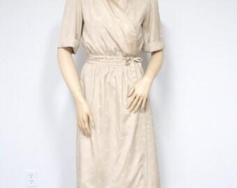 Vintage Dress Wrap Dress Short Sleeve Dress Shirtwaist Day Dress Secretary Dress Size Medium Size Small