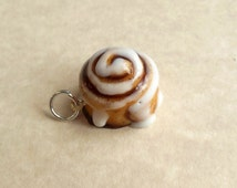 Polymer Clay Cinnamon Roll Charm, Cinnamon Bun Charm, Key Chain, Dust Plug, Pet Collar Charm,