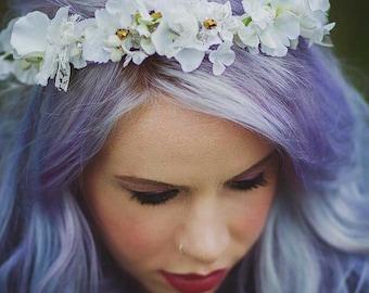 Boho flower crown, boho halo, bridesmaid hair, faerie crown, fairie crown, circlet, ivory hair vine, bohemian wedding, delicate hairpiece