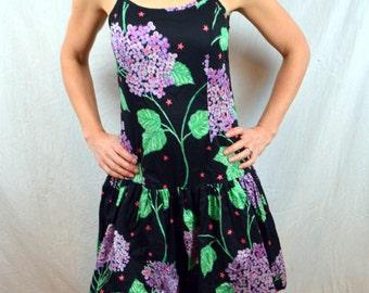 Vintage 1970s 80s Floral Lilac Summer Dress Bubble Skirt - Janet Russo
