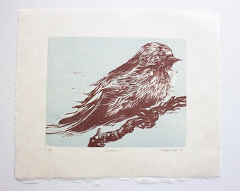 """Woodcut, """"Swallow"""" - Original Woodcut Relief, Hand-Printed on Kitakata Japanese Paper, Limited Edition of 6 ONLY"""