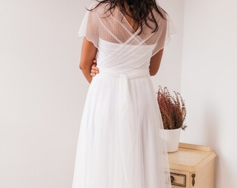 Dotted swiss tulle wedding dress, dotted swiss tulle wedding dress, white dotted swiss dress, soft dotted swiss wedding gown, swiss dot gown