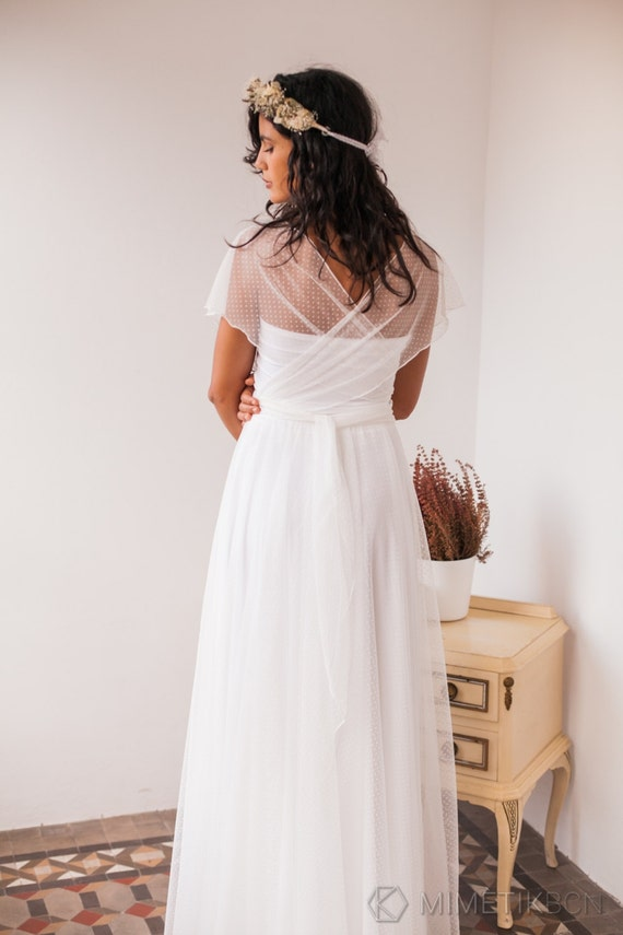 Dotted swiss tulle wedding dress dotted swiss tulle wedding for Dotted swiss wedding dress