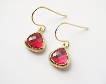 Small Ruby Red Glass Gold Earrings Dangle Titanium Nickel Free Modern