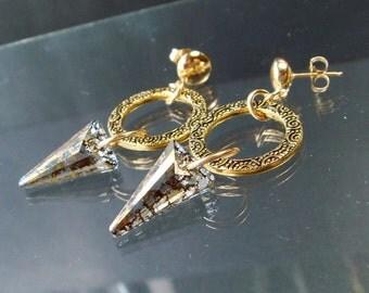 Spike Earrings, Circle Earrings, Dagger Earrings, Spiral Ring Gold Earrings, Swarovski Gold Patina, Eternity Ring, 14K GF Post Earrings