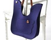 Navy Blue Wool Felt Handbag / Bird Felt Bag / Felt Shoulder Bag