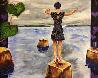 Bay Magic (acrylic painting, seascape, gulf coast, gulf of mexico, coastal, saltwater, bayou, tide, storm, southern, lusk)