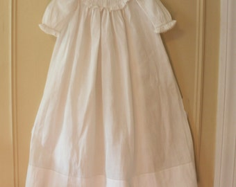 Antique Early 1900s White Cotton Whitework Baby's Christening or Baptismal Dress