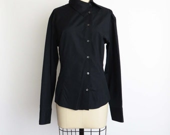 90s GUCCI Asymmetrical Button Front Long Sleeve Shirt Black Collared Womens Dress Shirt