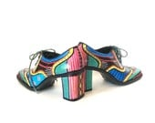 Unique Hand Painted Shoes Steampunk Style in Black Red Yellow Blue Green