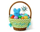 Personalized Easter Basket Liner, Lime Green Chevron, Basket not included, Monogrammed Easter basket liner, Custom basket liner with name