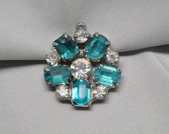 1 Vintage Pendant Drop Charm Mid-Century Rhinestones for Assemblage Jewelry Faux Blue Topaz or Aquamarine