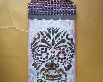 Day of the Dead Dia De Los Muertos scrapbook Embellishment Bookmark, tag,Sugar skull rhinestones