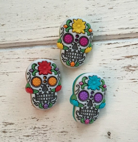 "Skull Buttons, Packaged Novelty Buttons by Dress It Up, Jesse James, ""Sugar Skulls"", Packaged Shank Back Buttons, Set of 3, Crafting, Sewing"