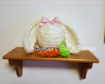 Ready to Ship, Baby Crochet Newborn Bunny Beanie and Carrot Set, Ivory Hat, Boy or Girl, Photo Prop, Photography Prop, Shower Gift, Cap