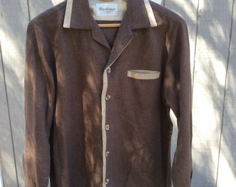 Vintage 50s Chocolate Brown Shirt - Sportsman by Cal-Made - Rockabilly - Rock N Roll