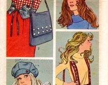 1970s Accessories - Vintage Pattern Simplicity 9644 - Belts Hat Cap Bag
