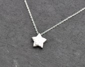 Silver Star Necklace, sterling silver star necklace, white gold plated star necklace