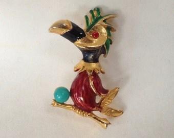 Metallic Enamel DODO Bird Pin Brooch - 1960s Figural Jewelry