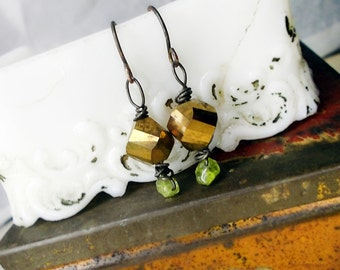 SALE | 10 DOLLARS | Rustic Bead Earrings | Nebula Faceted Gold Glass over Peridot Nuggets | Short Lightweight Wire Wrapped Bead Assemblage