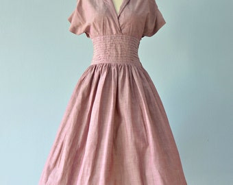Vintage 1950s Day Dress...REDFORD LORD & TAYLOR Cotton Day Dress