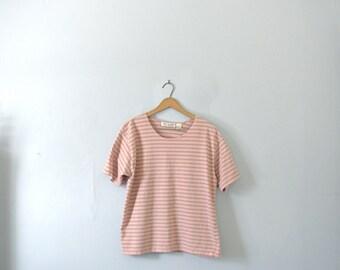 Vintage 80's pink striped shirt, size XL large