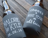 Fall Wedding Favors - Cheers to Many Years and Cold Beers Personalized Can Coolers, Destination Wedding Favors for Guests, Stubby Holders